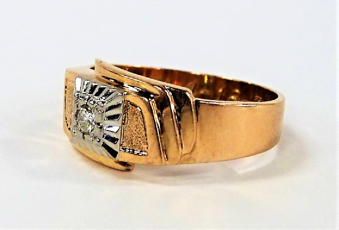 RETRO GENTS 14KT ROSE GOLD DIAMOND RING - 3