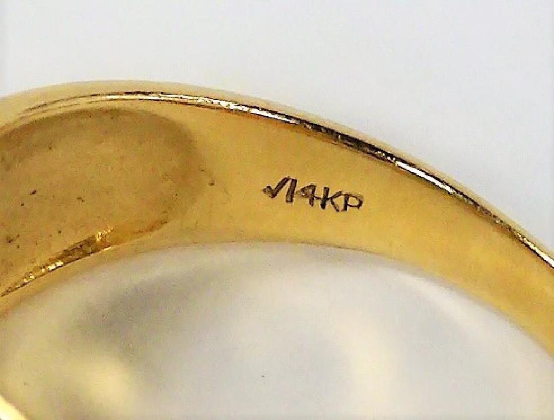 RETRO 14KT YELLOW GOLD JADE & SAPPHIRE RING - 4