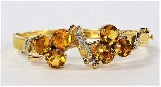 LADIES 14KT YELLOW GOLD CITRINE & DIAMOND BANGLE
