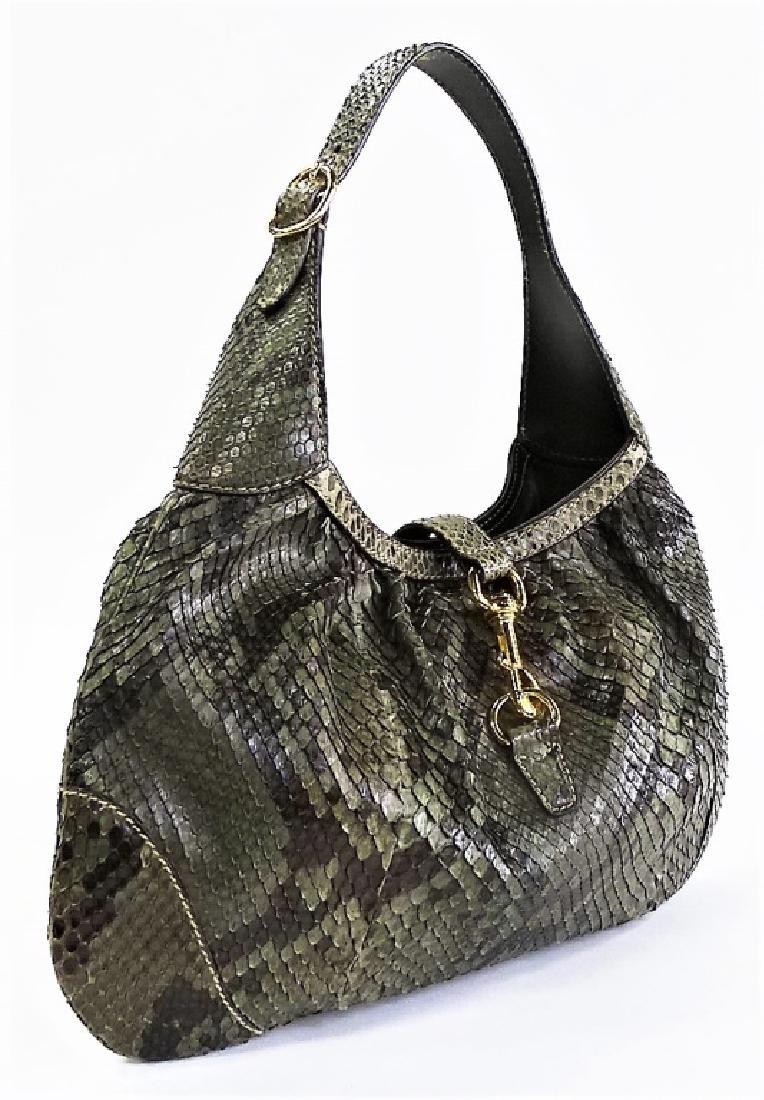 GUCCI HERITAGE JACKIE-O GREEN PYTHON SHOULDER BAG - 3