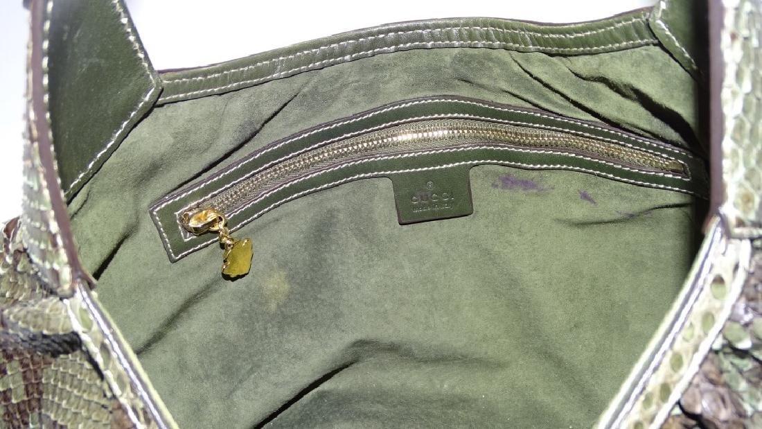 GUCCI HERITAGE JACKIE-O GREEN PYTHON SHOULDER BAG - 4