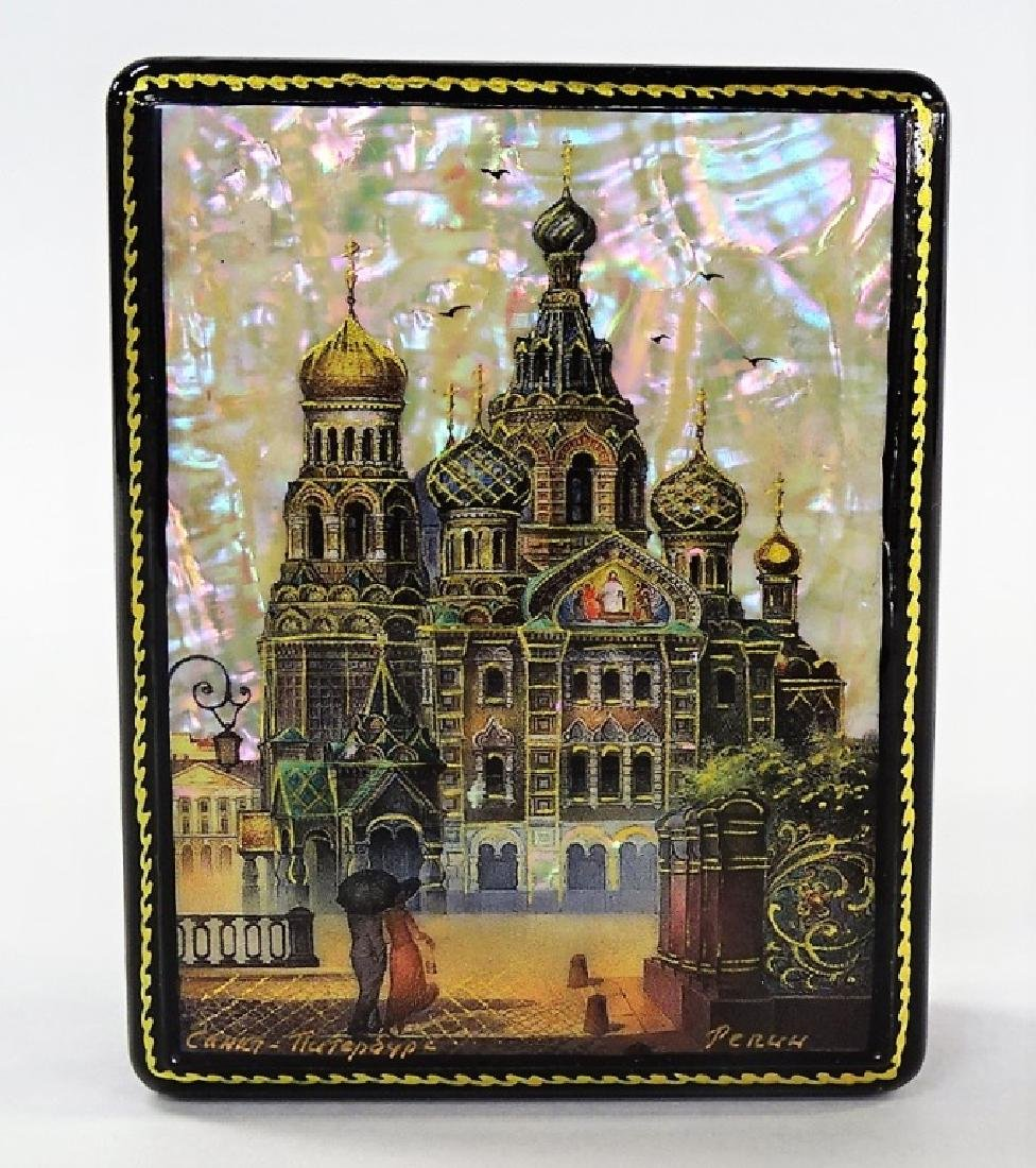 HAND PAINTED MOTHER OF PEARL RUSSIAN LACQUER BOX