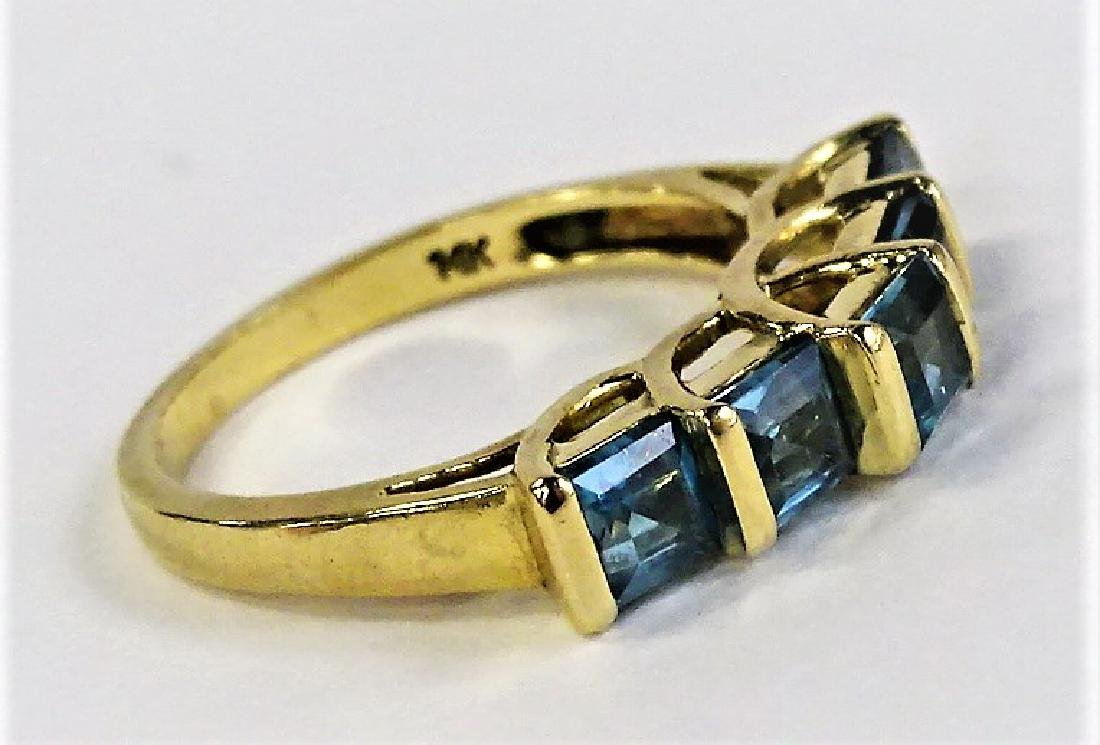 LADIES 14KT YELLOW GOLD BLUE TOPAZ RING - 2