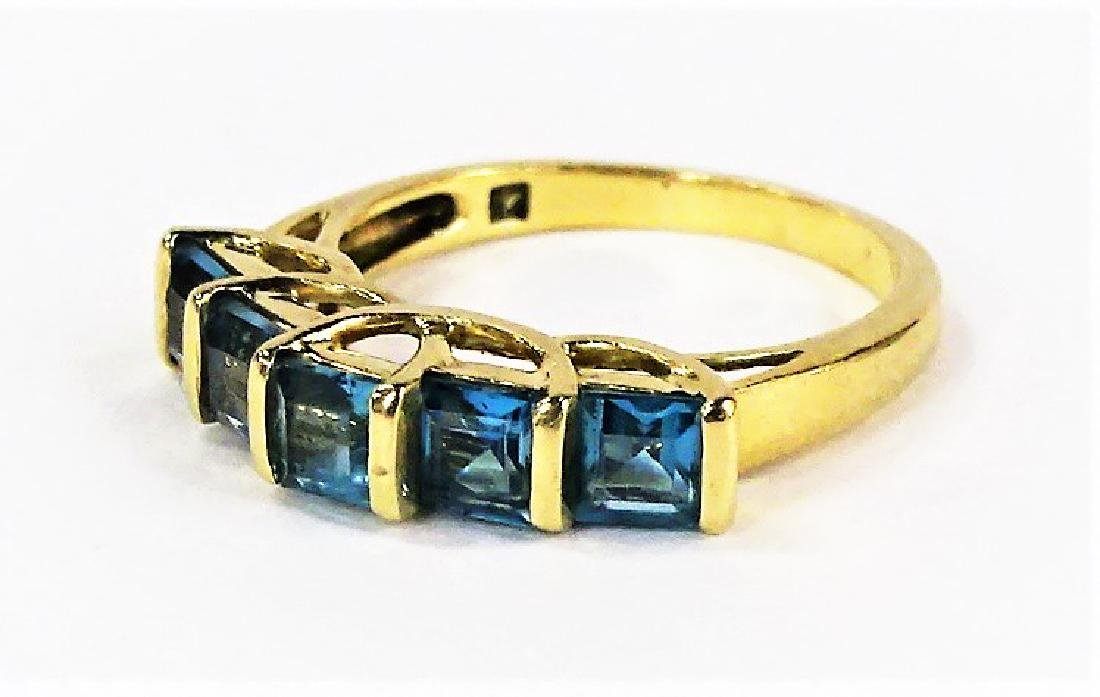 LADIES 14KT YELLOW GOLD BLUE TOPAZ RING - 3