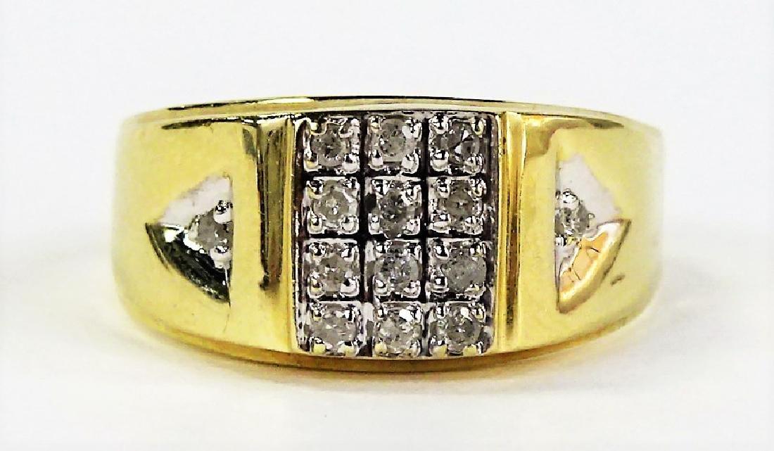MENS RETRO 14KT YELLOW GOLD DIAMOND RING