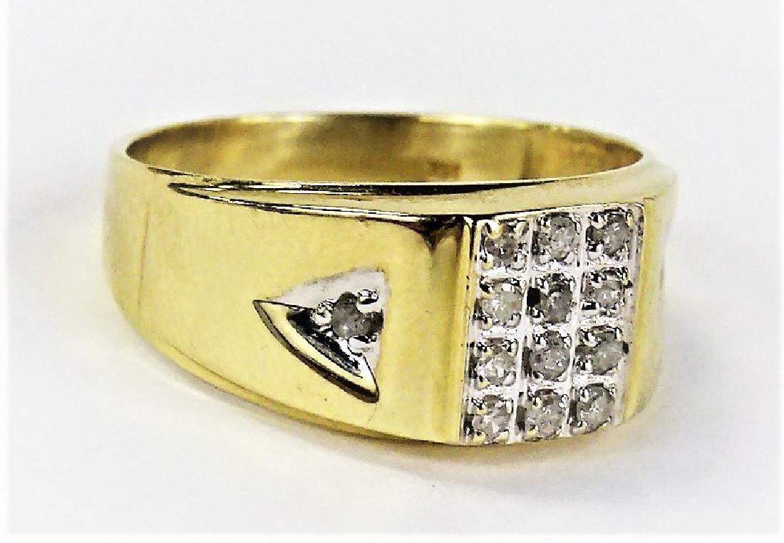 MENS RETRO 14KT YELLOW GOLD DIAMOND RING - 2
