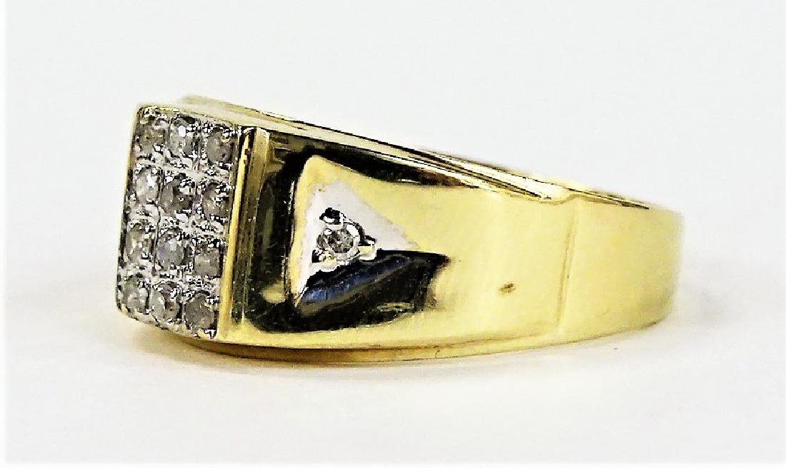 MENS RETRO 14KT YELLOW GOLD DIAMOND RING - 3