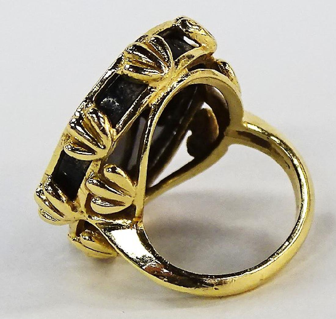 LARGE 14KT Y GOLD ONYX & DIAMOND LADIER RING - 3