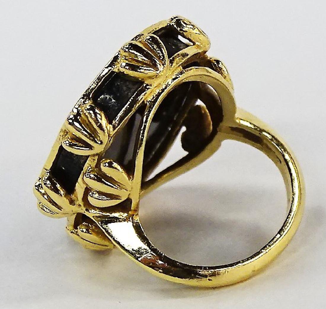 LARGE 14KT Y GOLD ONYX & DIAMOND LADIER RING - 3