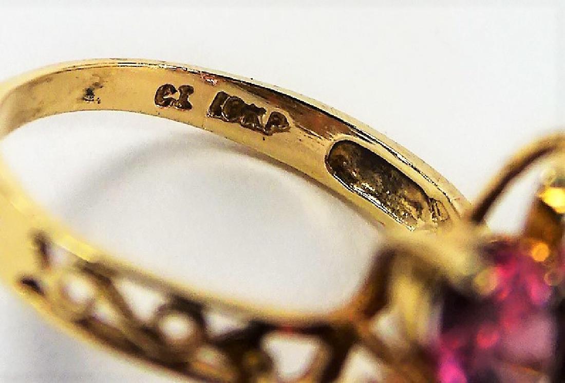 LADIES 10 KARAT YELLOW GOLD AMETHYST RING - 5