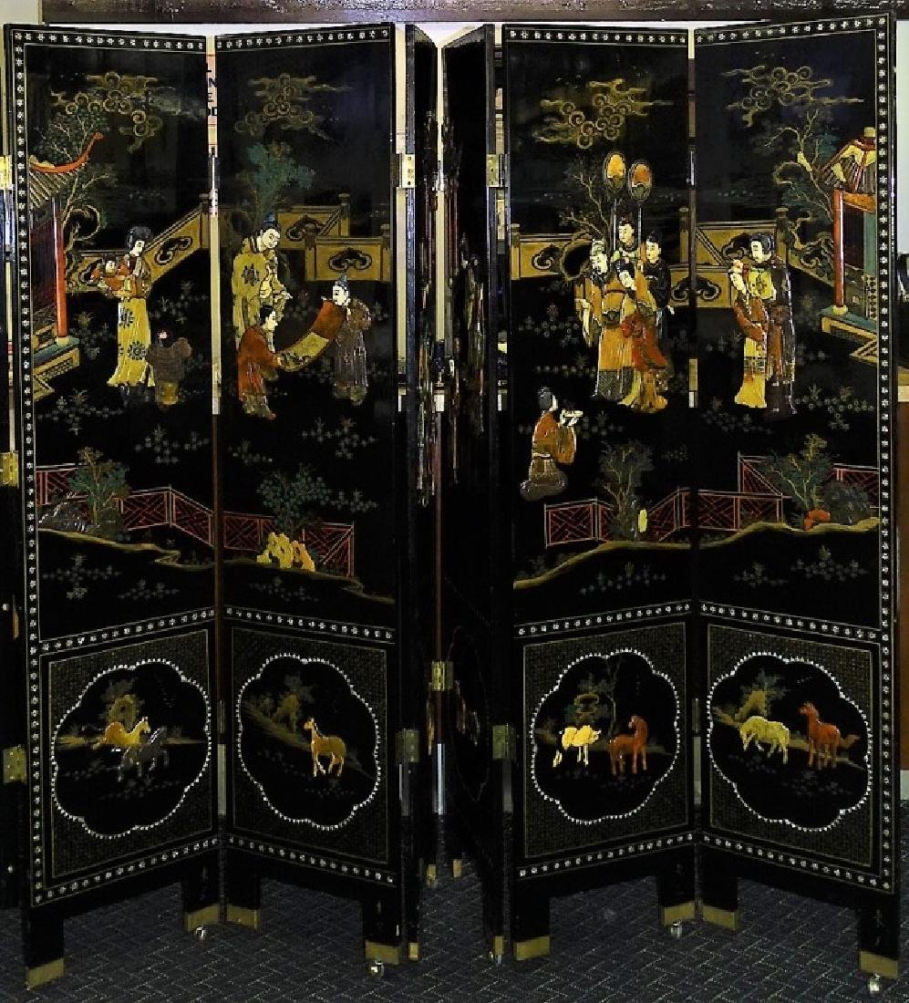VINTAGE CHINESE HANDPAINTED 6-PANEL LACQUER SCREEN