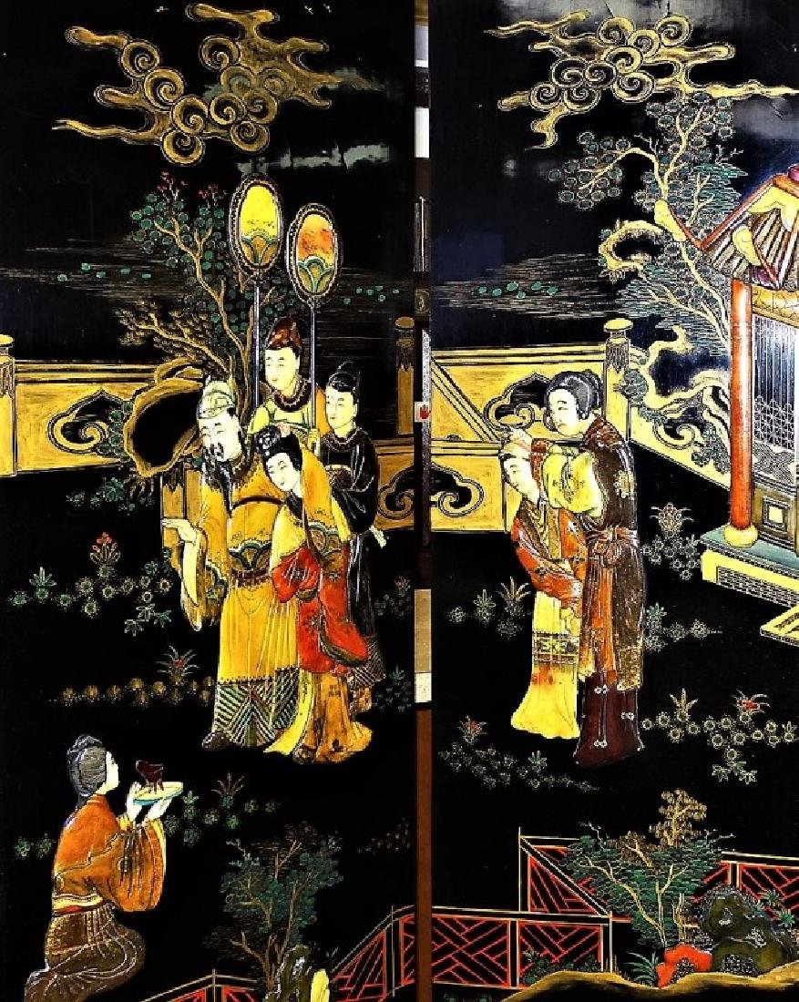 VINTAGE CHINESE HANDPAINTED 6-PANEL LACQUER SCREEN - 3
