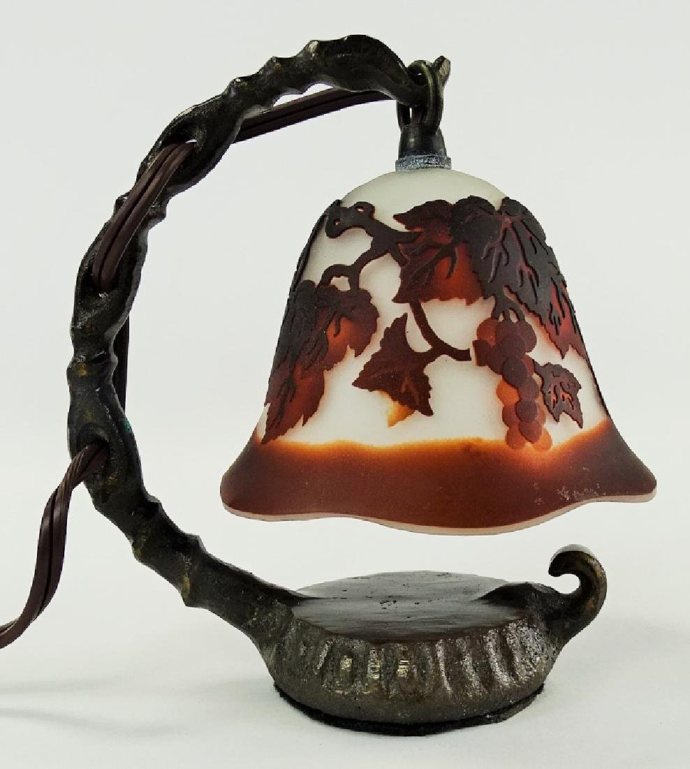 GALLE STYLE CAMEO GLASS DESK LAMP W/ BRONZE BASE - 2