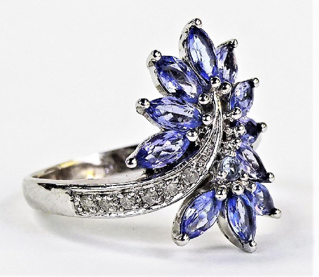 LADIES 10KT WHITE GOLD TANZANITE & DIAMOND RING - 2