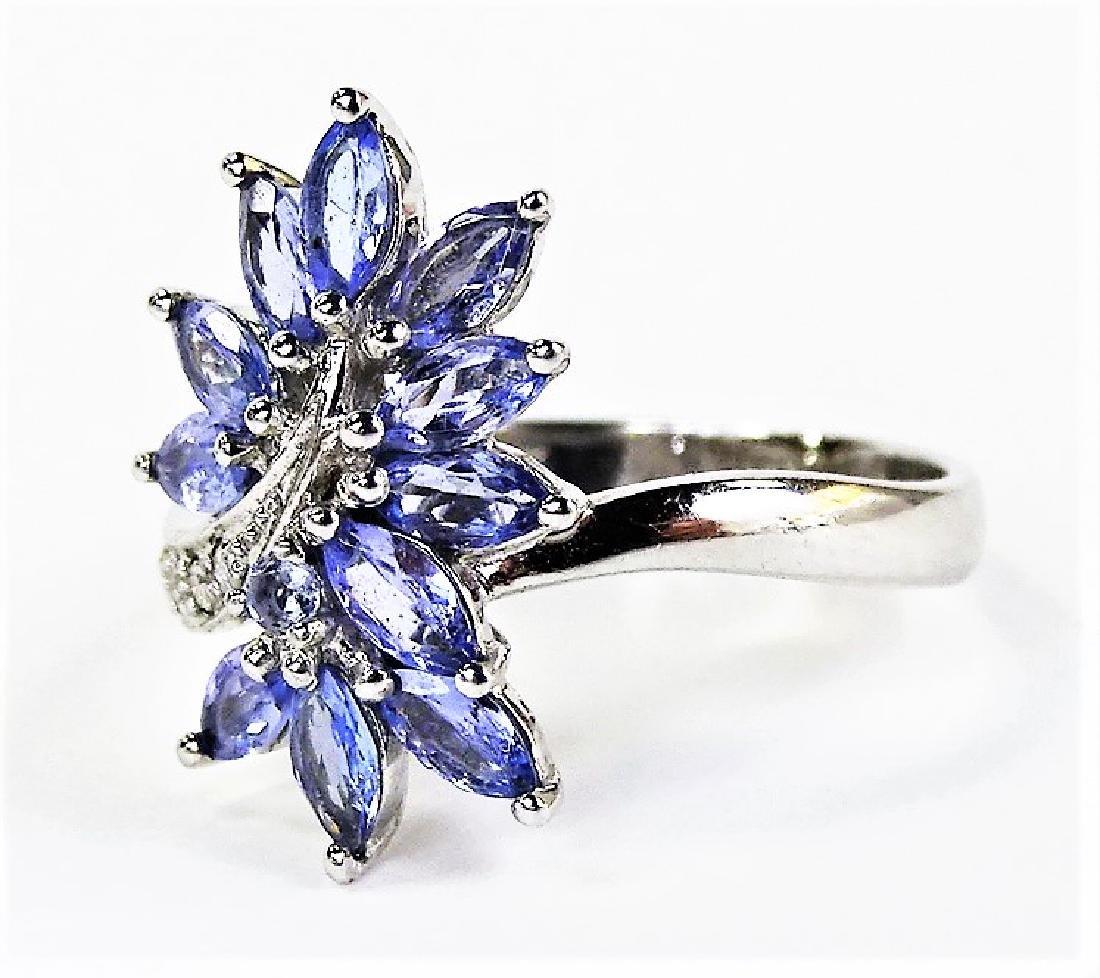 LADIES 10KT WHITE GOLD TANZANITE & DIAMOND RING - 3