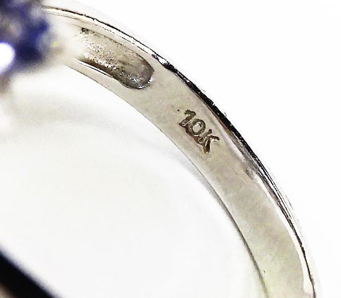 LADIES 10KT WHITE GOLD TANZANITE & DIAMOND RING - 4