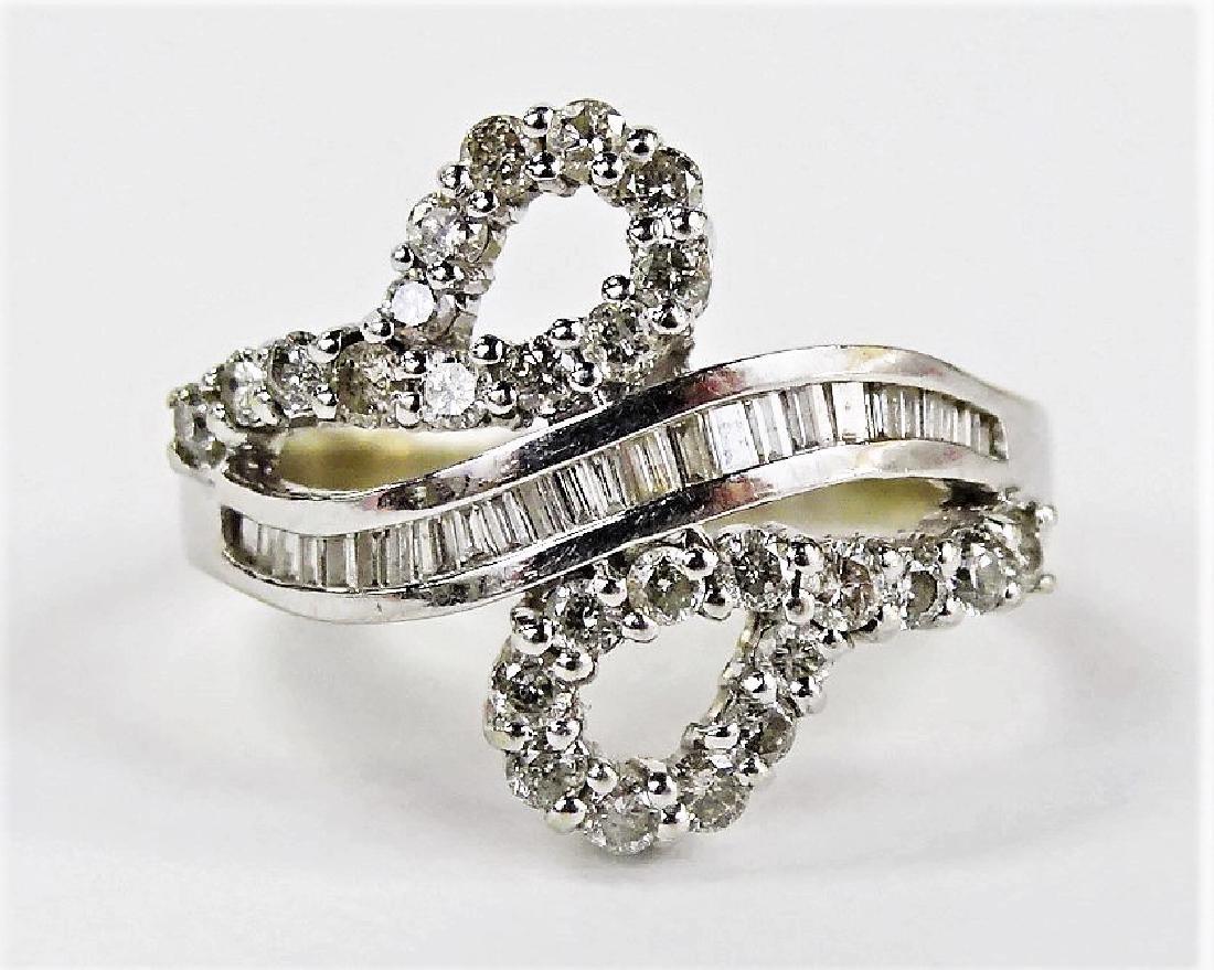 LADIES FANCY 14KT WHITE GOLD DIAMOND RING