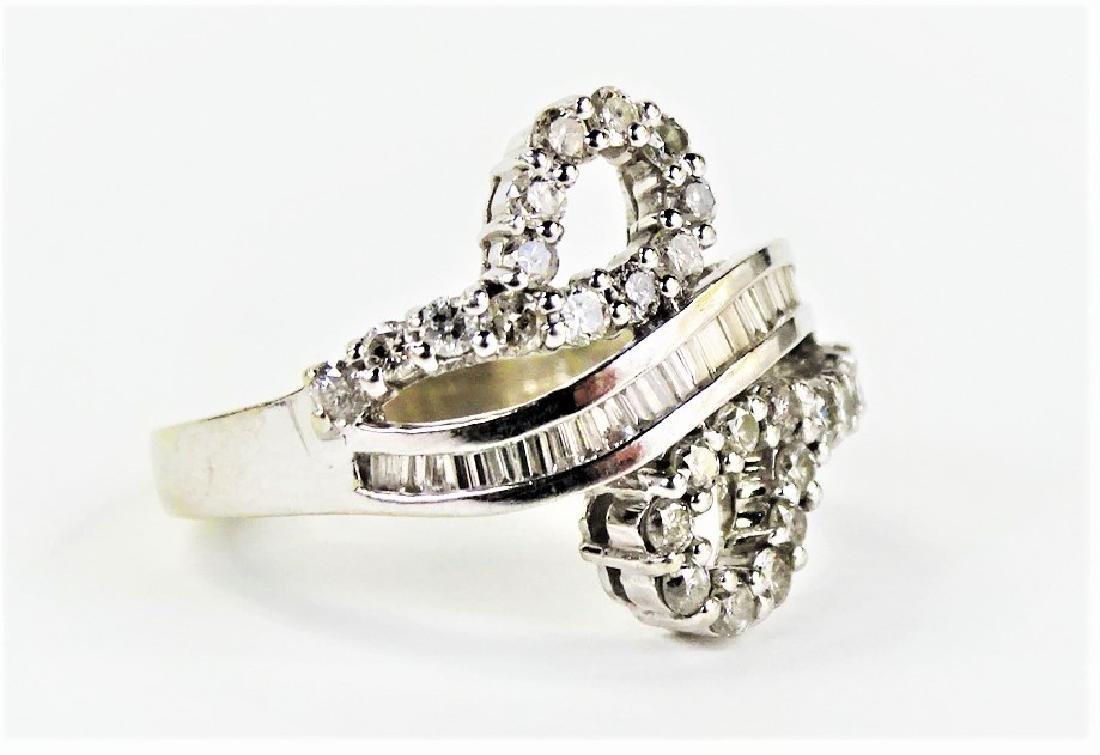 LADIES FANCY 14KT WHITE GOLD DIAMOND RING - 2