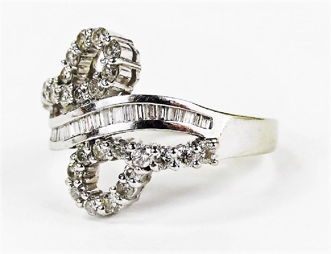LADIES FANCY 14KT WHITE GOLD DIAMOND RING - 3