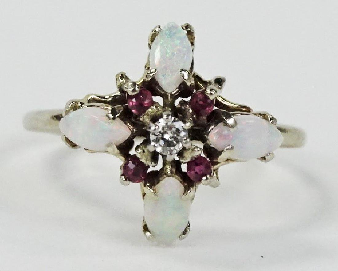 LADIES 14KT WHITE GOLD OPAL RUBY & DIAMOND RING