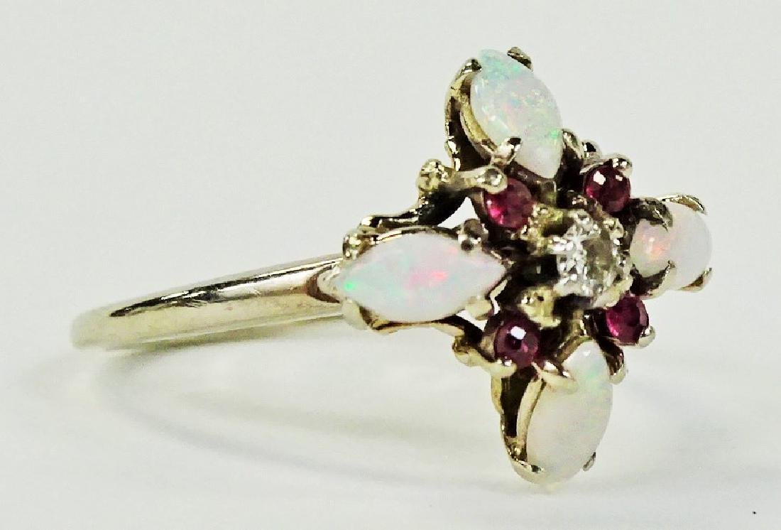 LADIES 14KT WHITE GOLD OPAL RUBY & DIAMOND RING - 2