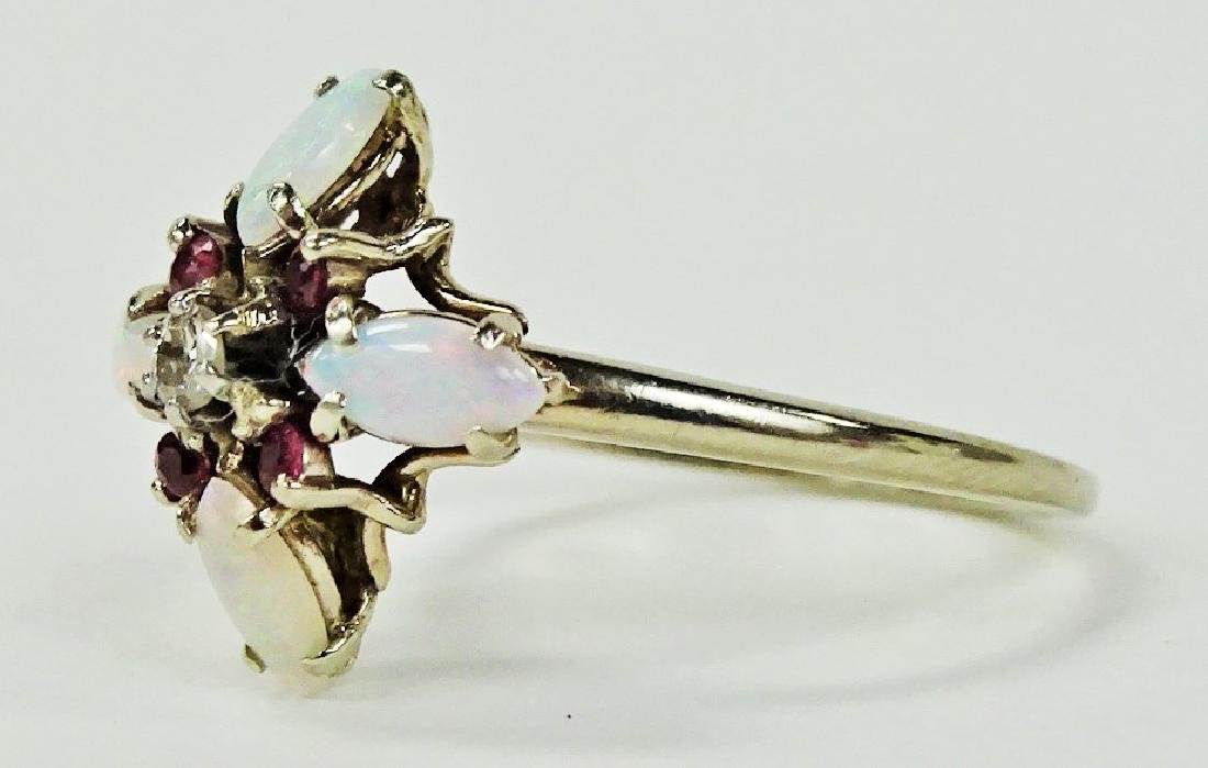 LADIES 14KT WHITE GOLD OPAL RUBY & DIAMOND RING - 3