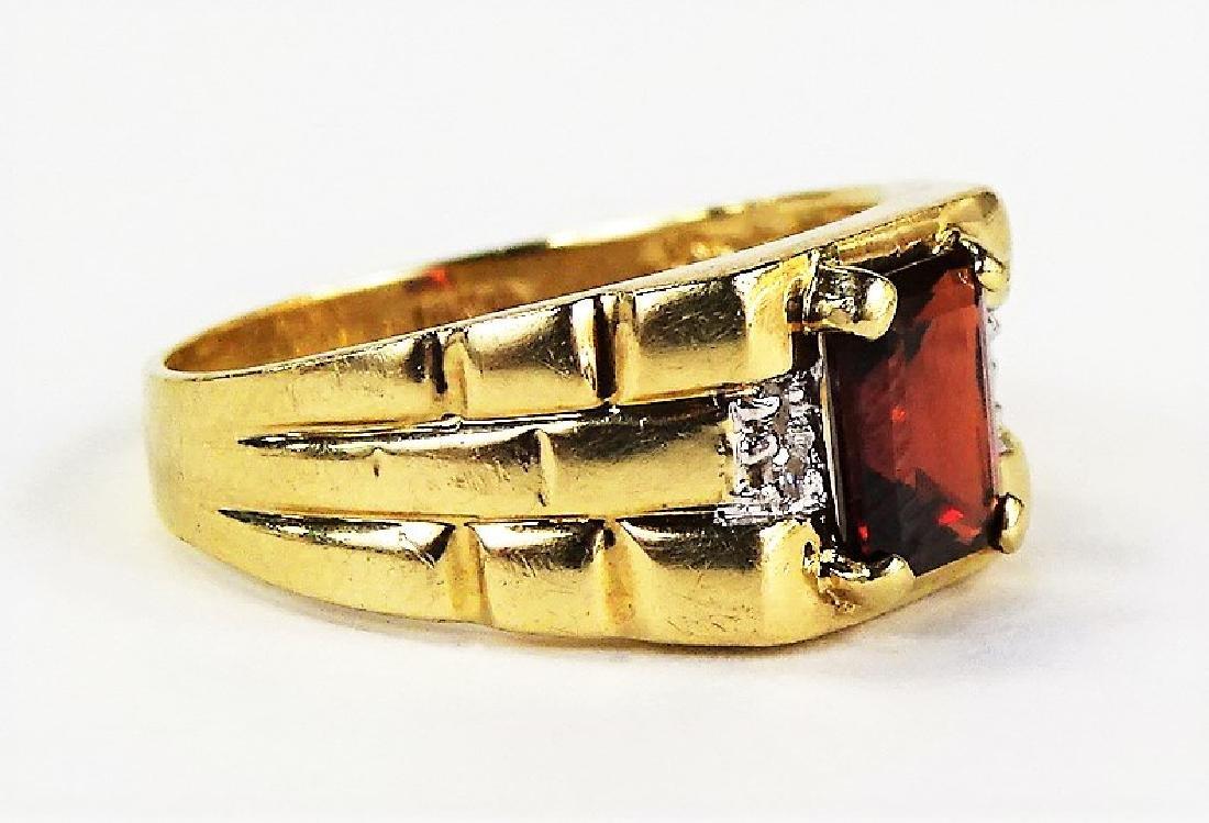 GENTS 14KT YELLOW GOLD GARNET & DIAMOND RING - 2