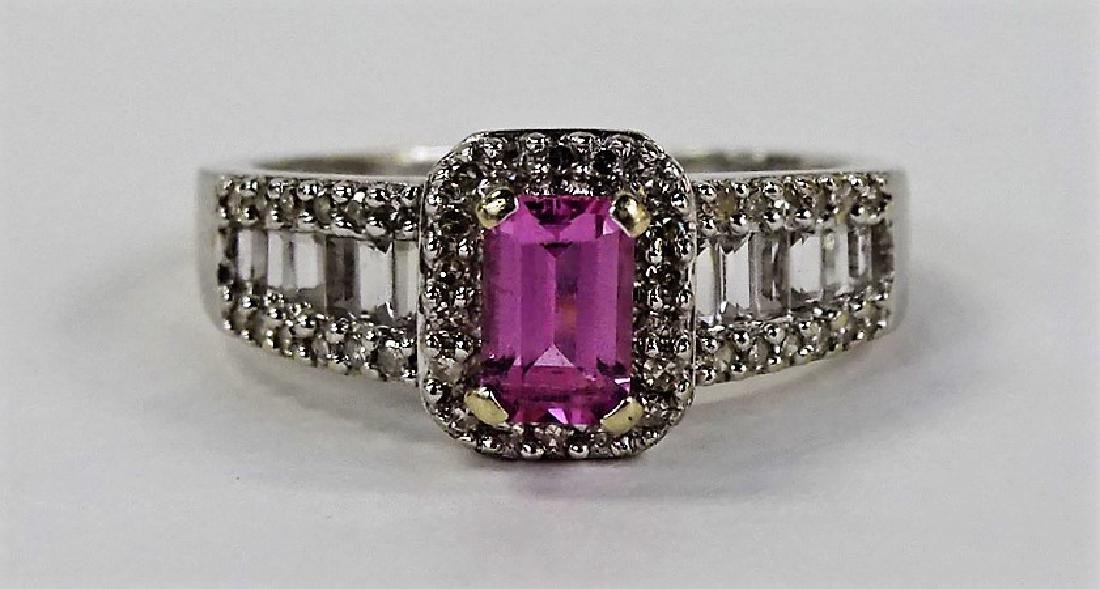 LADIES FANCY 14KT WG PINK SAPPHIRE & DIAMOND RING
