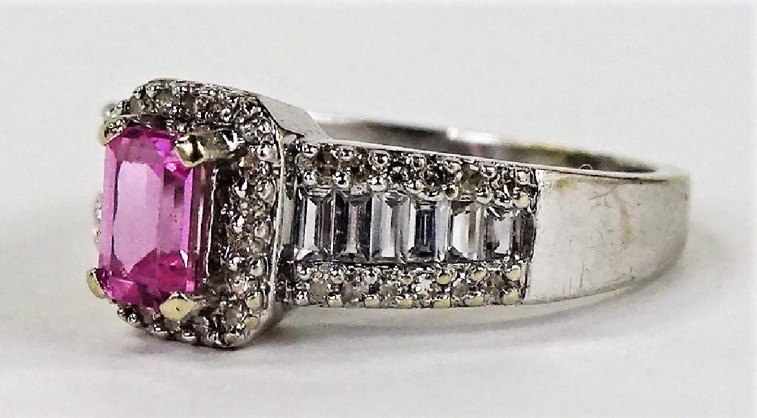 LADIES FANCY 14KT WG PINK SAPPHIRE & DIAMOND RING - 2