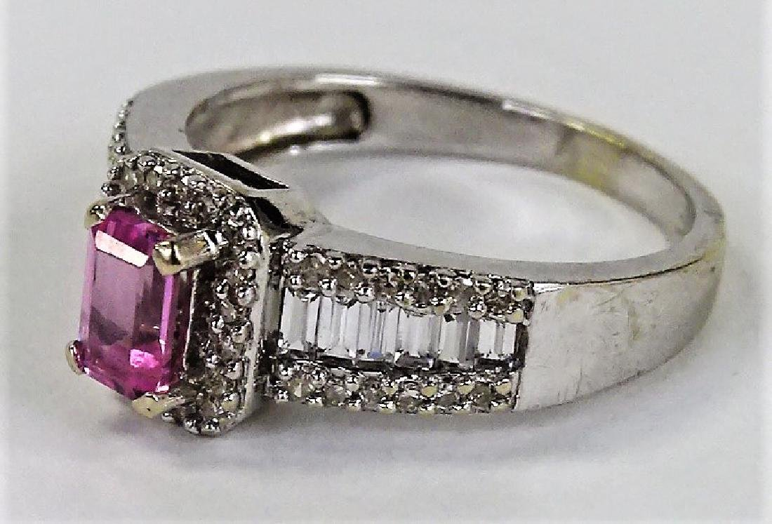 LADIES FANCY 14KT WG PINK SAPPHIRE & DIAMOND RING - 3
