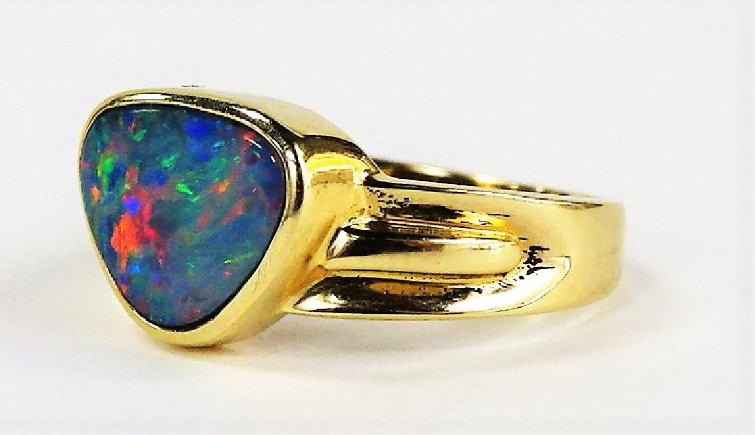 LADIES 14KT YELLOW GOLD FIRE OPAL RING - 2