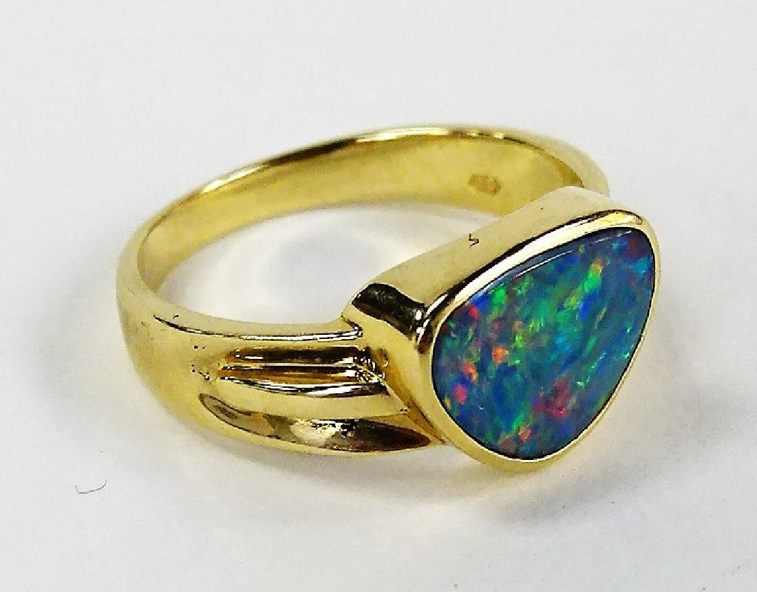 LADIES 14KT YELLOW GOLD FIRE OPAL RING - 3