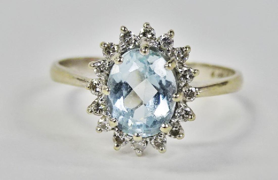 FANCY 14KT WG AQUAMARINE & DIAMOND RING