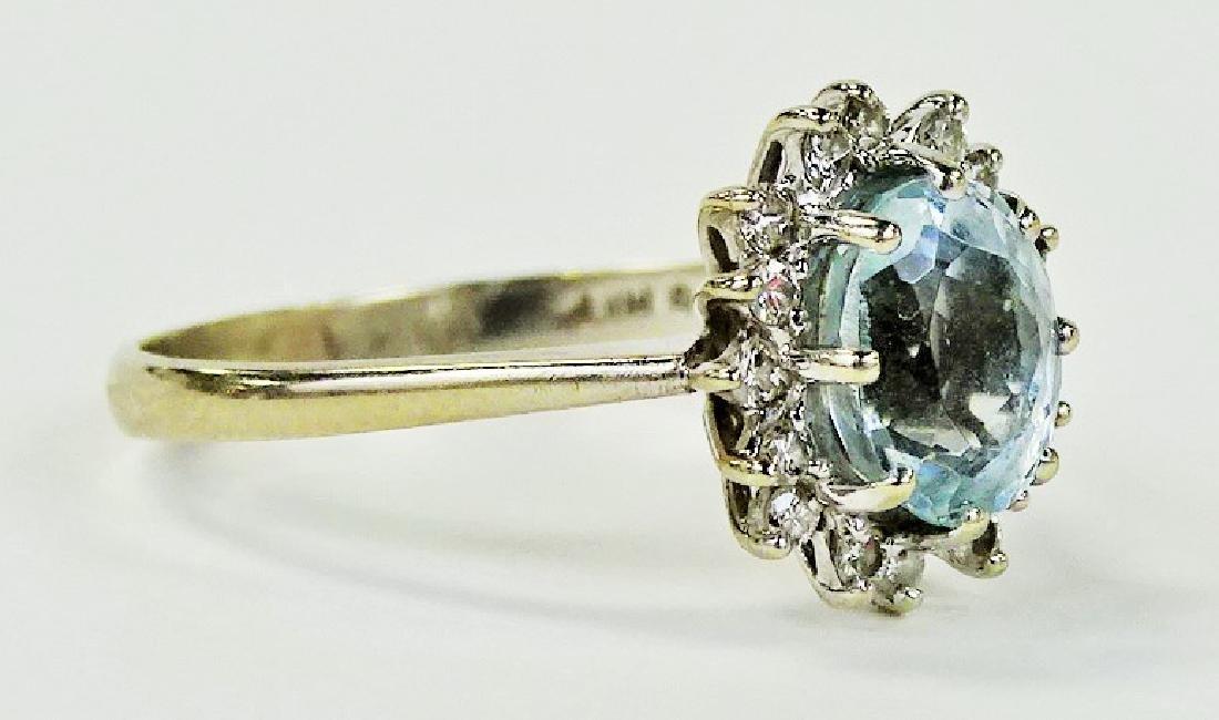 FANCY 14KT WG AQUAMARINE & DIAMOND RING - 2