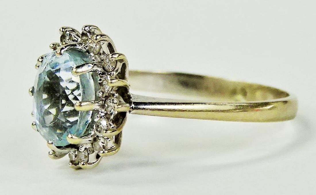 FANCY 14KT WG AQUAMARINE & DIAMOND RING - 3