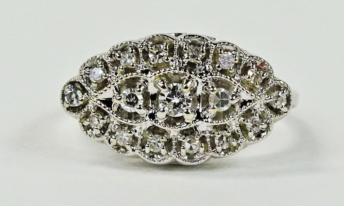 LADIES ELEGANT 14KT WG DIAMOND CLUSTER RING