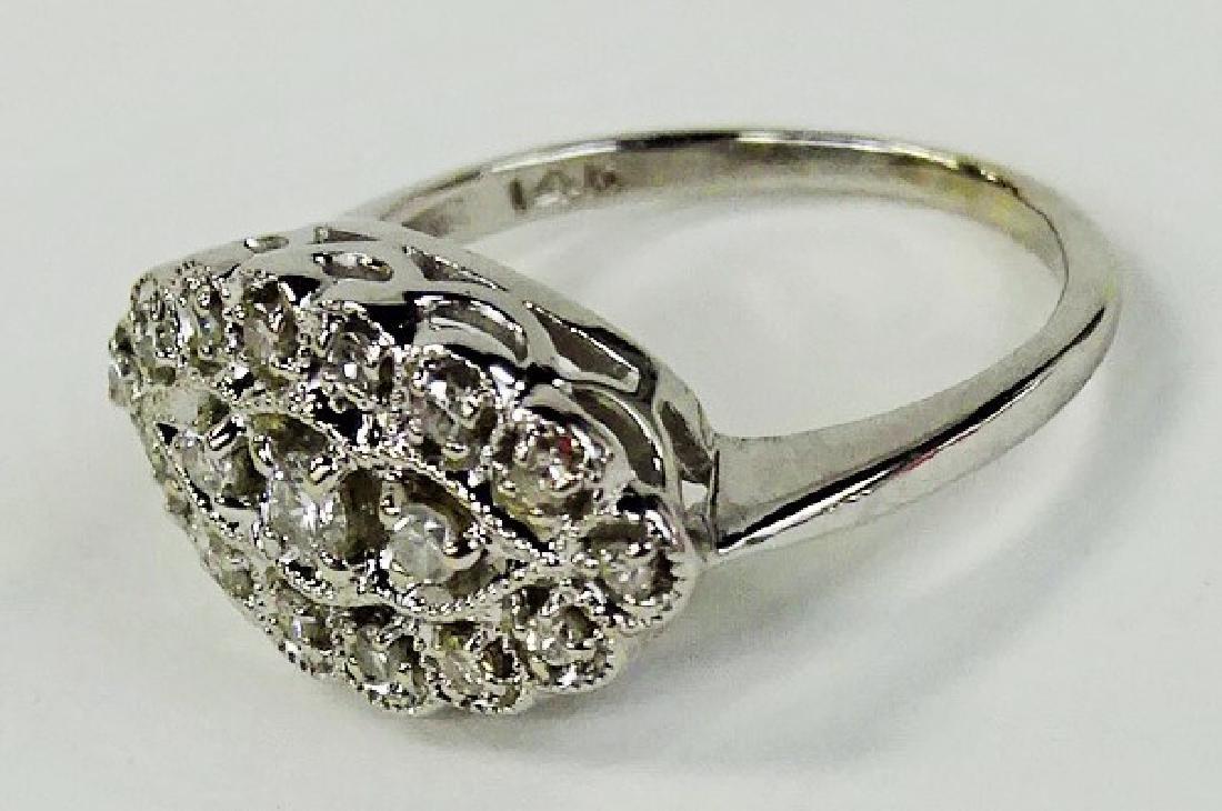 LADIES ELEGANT 14KT WG DIAMOND CLUSTER RING - 3