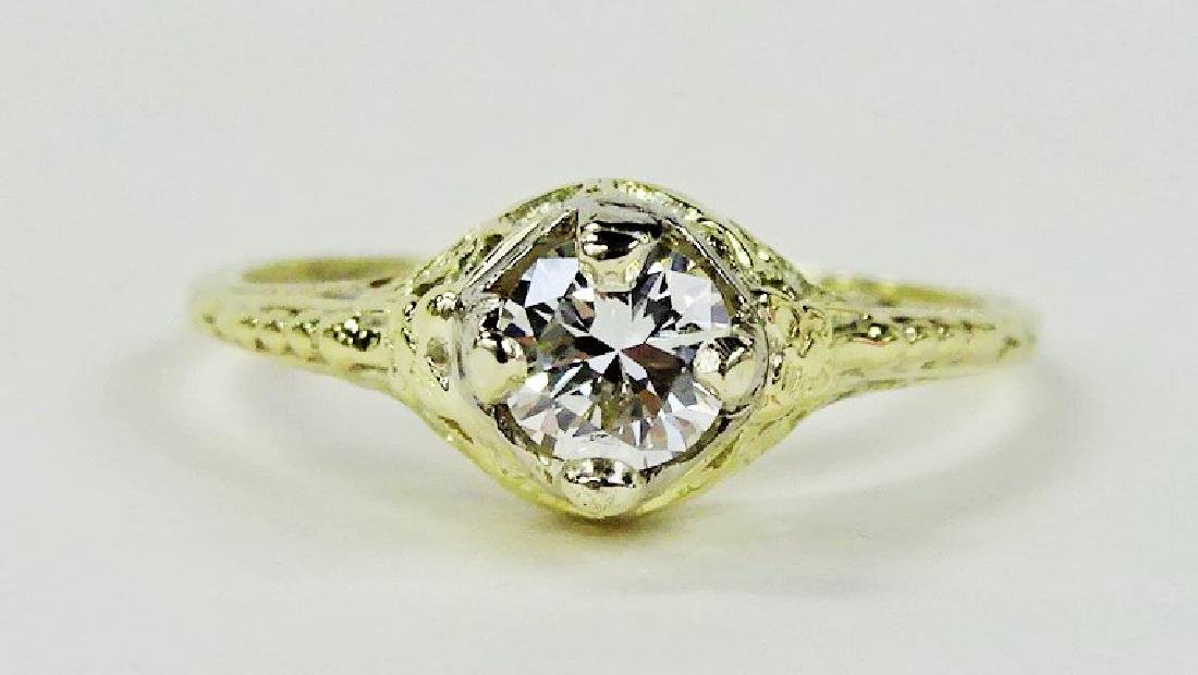 LADIES STUNNING 14KT YG 1/2CT DIAMOND RING