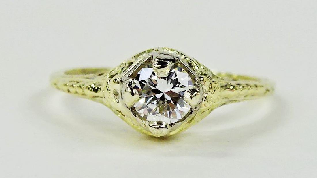 LADIES STUNNING 14KT YG 1/2CT DIAMOND RING