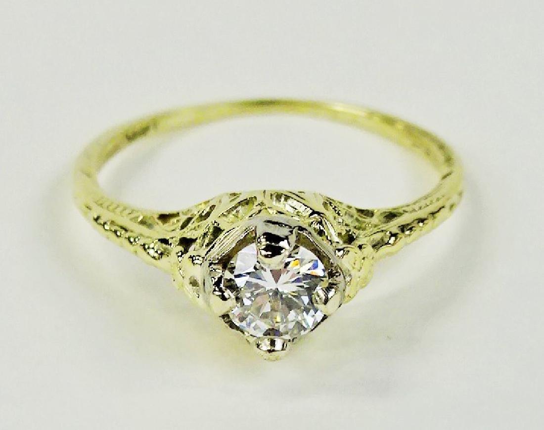 LADIES STUNNING 14KT YG 1/2CT DIAMOND RING - 2