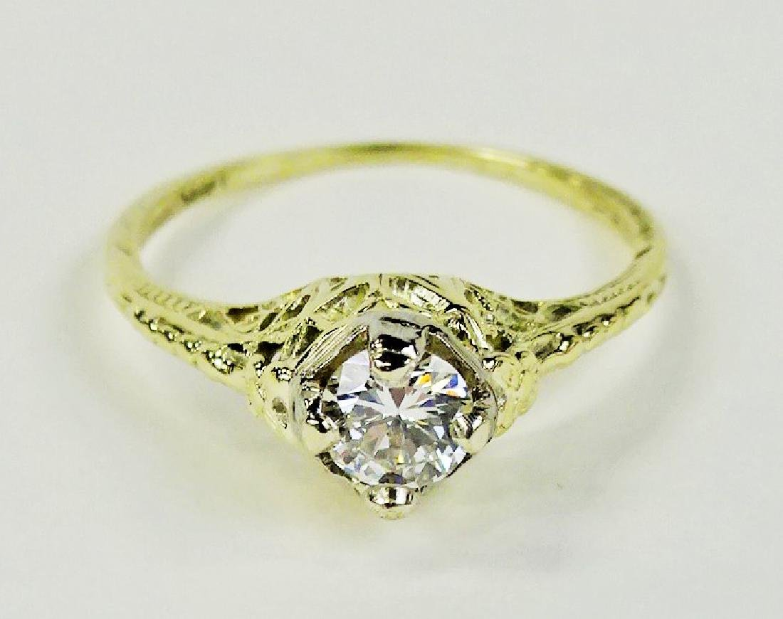 LADIES STUNNING 14KT YG 1/2CT DIAMOND RING - 2
