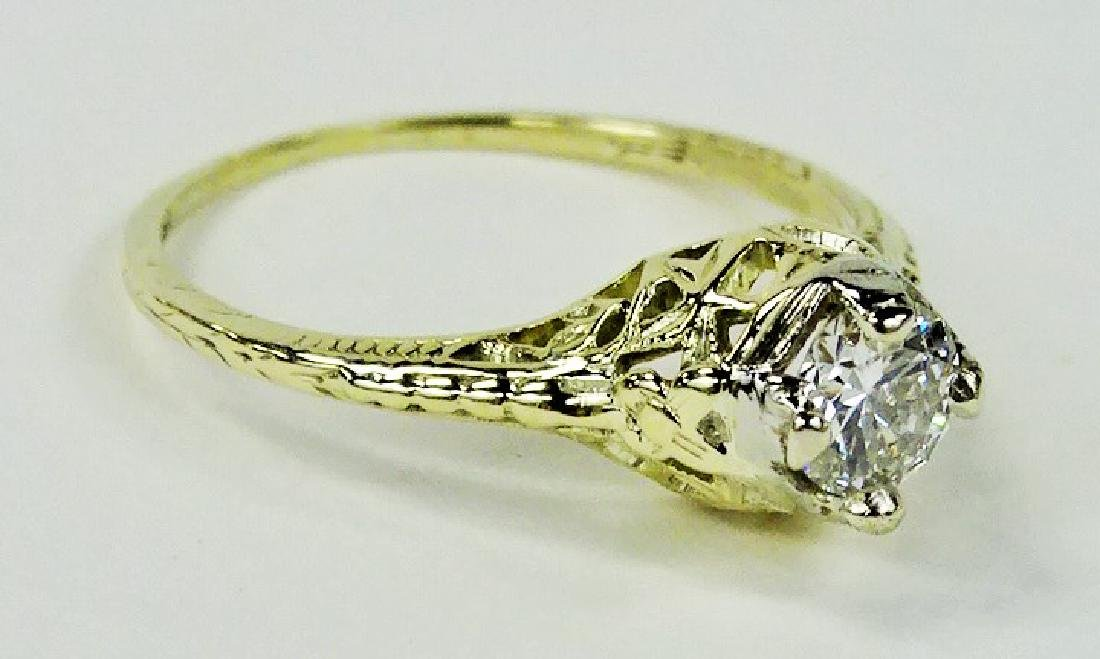 LADIES STUNNING 14KT YG 1/2CT DIAMOND RING - 3