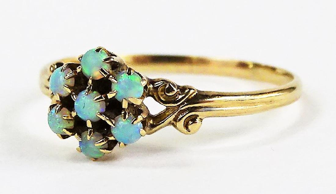 LADIES 14KT YELLOW GOLD OPAL CLUSTER RING - 3