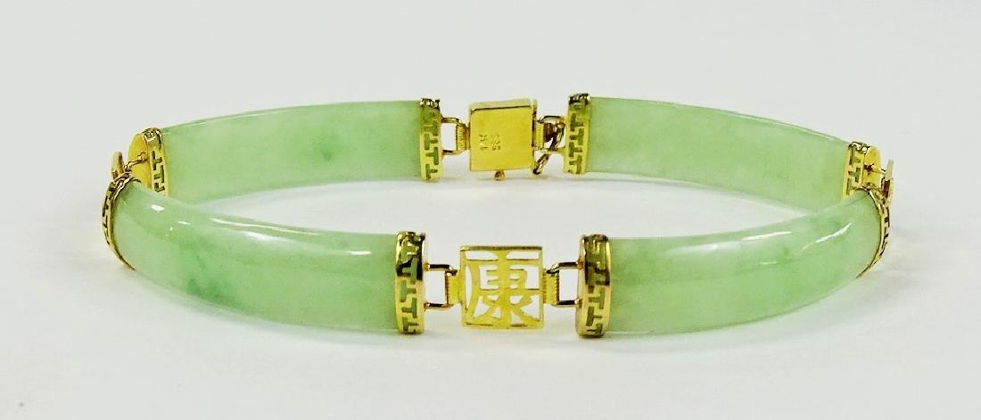 CHINESE 14KT YELLOW GOLD D JADE BRACELET