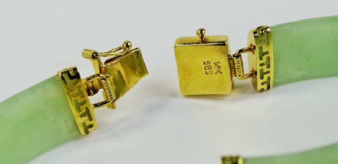 CHINESE 14KT YELLOW GOLD D JADE BRACELET - 3