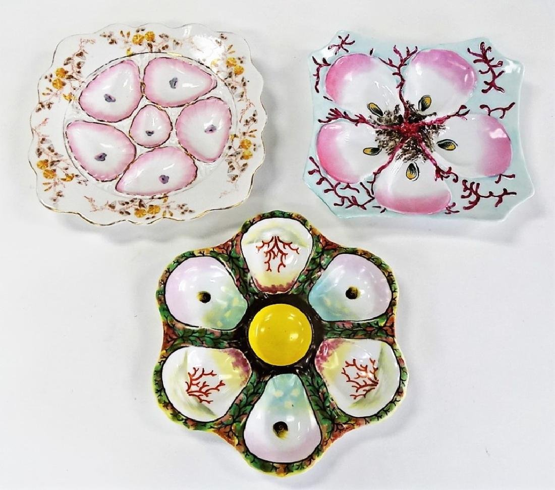 3 HAND PAINTED CZECH PORCELAIN OYSTER PLATES