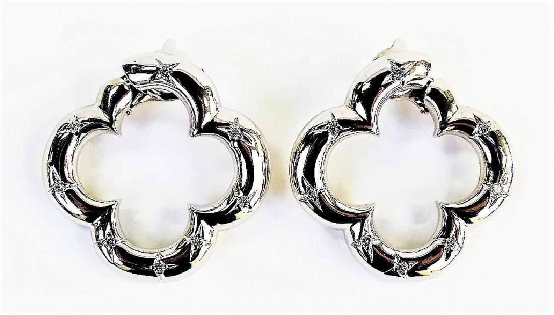VAN CLEEF & ARPELS 18K & DIAMOND ALHAMBRA EARRINGS - 2