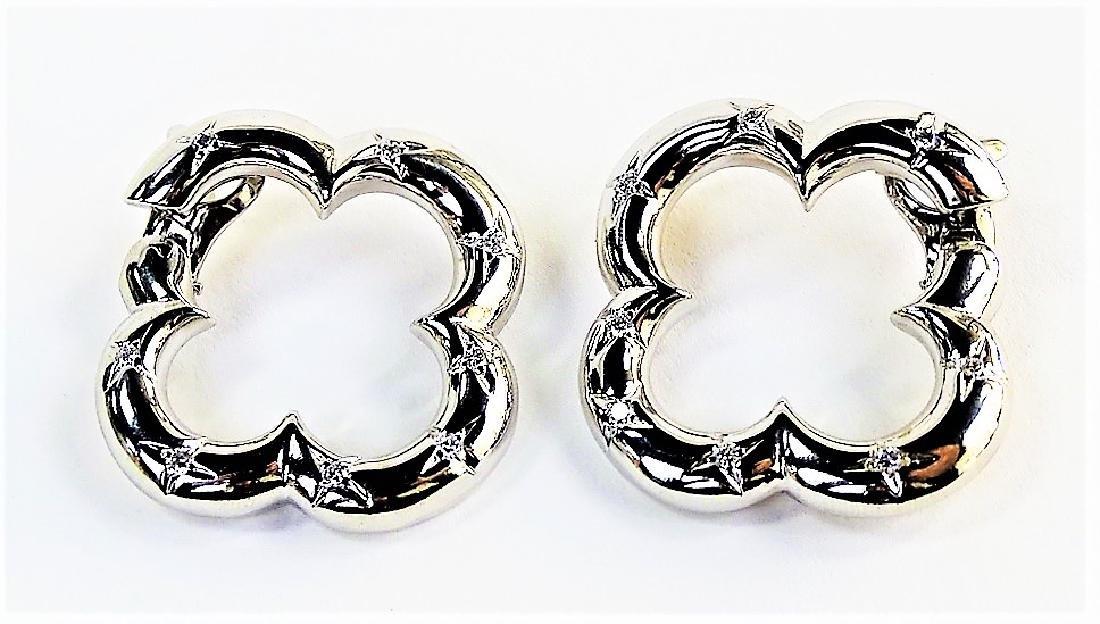 VAN CLEEF & ARPELS 18K & DIAMOND ALHAMBRA EARRINGS - 3