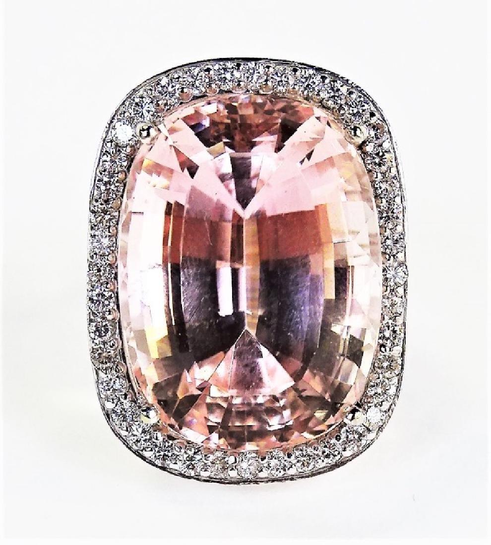 ESTATE 14KT WHITE GOLD 76CT KUNZITE & DIAMOND RING