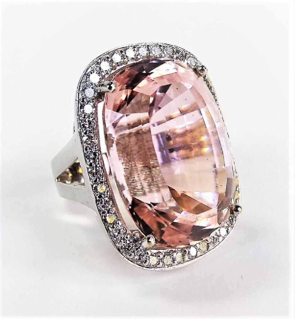 ESTATE 14KT WHITE GOLD 76CT KUNZITE & DIAMOND RING - 2